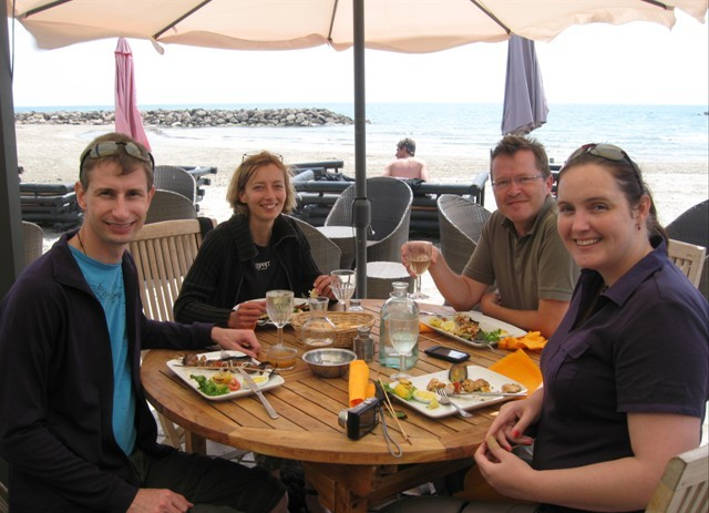 Australian guests having lunch at a local beach restaurant