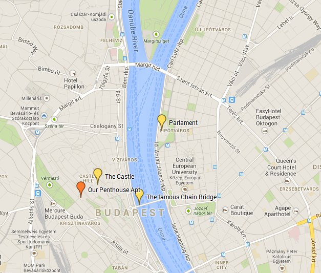 Map showing our self-catering Budapest Apartment for rent
