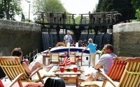 Passing through a Canal du Midi lock