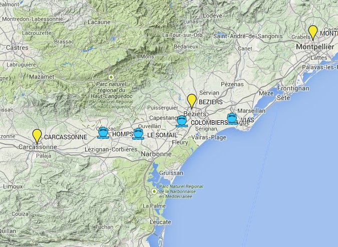 Carcassonne, Narbonne, Beziers - Day boat trip map of base