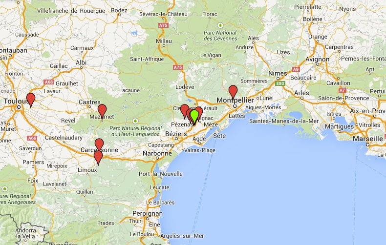 Map showing approximate locations of all villas, gites, hotels, and chateaux we can offer locally